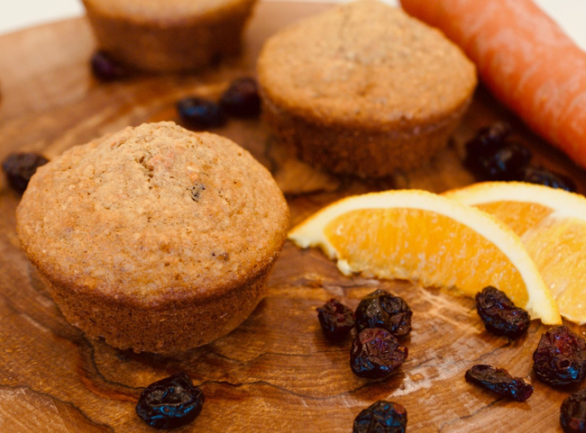 Oat, Cranberry, Carrot and Orange Muffins